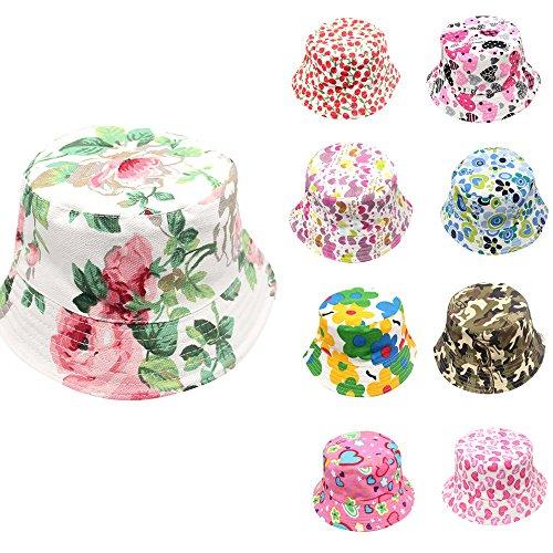 SHOBDW Girls Hats, Toddler Kids Sun Hats Baby Boys Girls Fashion Floral Camouflage Pattern Bucket Helmet Child Fisherman Cap Gifts