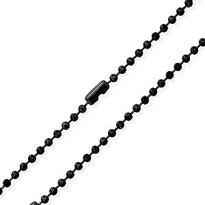 Bling Jewelry 3MM Acciaio Inossidabile Placcato Shot Nero Sfera Perline Collana Catena Peri Uomini per Teen 18 20 22 24 30 Pollici