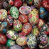 Gall&Zick Kashmir Lack Ei Osterschmuck Lackmalerei Ostern Handbemalt Holzei (4 Eier)