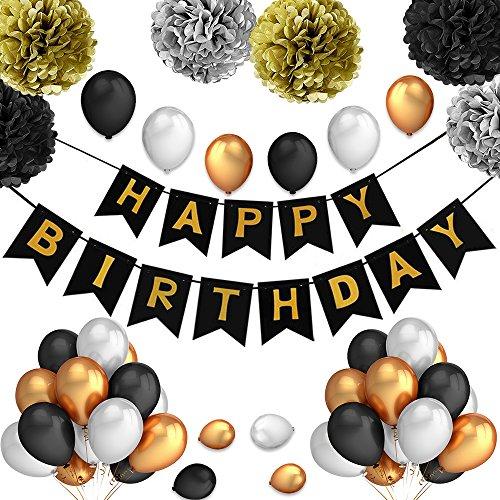 PushingBest Geburtstagsdeko, Sicherheit Material Neu Design Perfekte Dekoration Einzigartige Speicher Geburtstag Dekoration Set für Kinder, Männer und Frauen