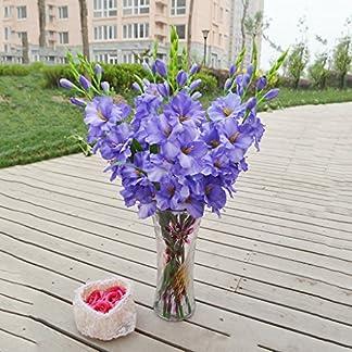 80 Cm Artificial Gladiola Gladiolus Tallo De Flor Hogar Jardín Decoración Azul