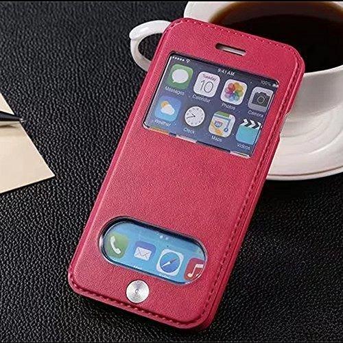 UKDANDANWEI Apple iPhone 8 [CJ] Case - Magnetisch Leder Tasche Flip Case Cover Schutzhülle Etui Hülle Schale mit Fenster Ansicht Für Apple iPhone 8 - Weiß Rot