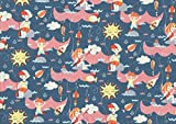 Swafing Baumwoll-Jersey DIY Stoff Meterware verschiedene Muster / Designs (100 x 155 cm, Kinder Angel Fische Anker)