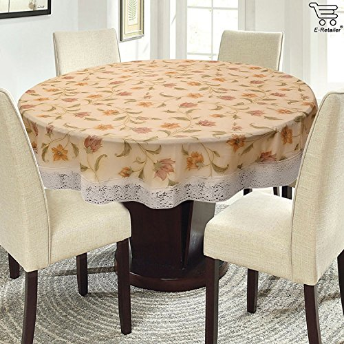 E-Retailer Elegant Yellow Colour Flowers Printed With White Lace 60 Inch Round...