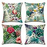 Lot de 4 taies d'oreiller flamants roses de forme carrée en coton et lin 45,7x 45,7cm par Youthny ; housses de coussin pour utilisation domestique, canapé et décoration