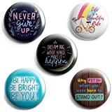 AVI 58mm Regular Size Fridge Magnets MetalMulticolor Motivational Positive Quotes with Life is a beauitful Ride Pack of 5 C5M