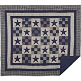 VHC Brands Primitive Bedding Blue Ninepatch Quilt, King, Navy