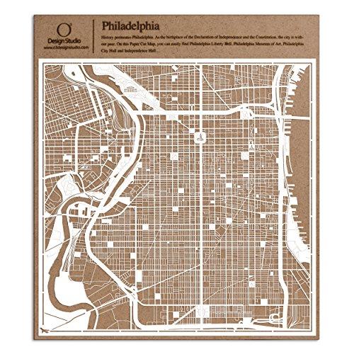Philadelphie carte découpée sur papier, blanc 30x30 cm Art papier