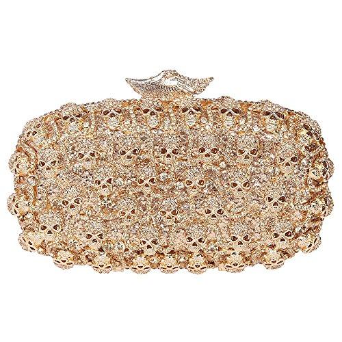Santimon Clutch Delle Donne Caso di Stile Vestito Diamante Clutch Borsellini Strass Diamante Cristallo Borsa Con Tracolla Amovibile 3 Colori giallo
