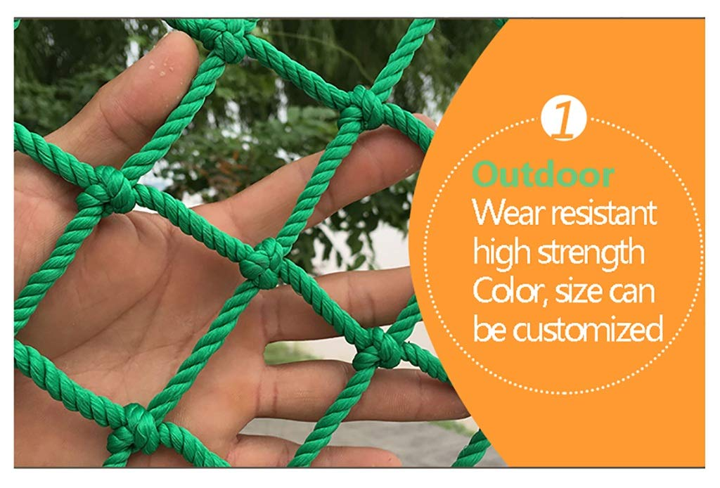 Child safety net protective net balcony stairs anti-fall net kindergarten color decorative net fence network Length 1M /9M Hand braided traditional structure (Color : Outdoor, Size : 4m*5m)  [Protect children's safety]: Many children fall from the building, let us understand that the safety of children can not be ignored. [Polyester knotless woven mesh]: The mesh surface has large pulling force, and the double needle has no knot woven mesh hole, so that the mesh has stronger impact resistance. [wire diameter 4MM, mesh spacing 4CM]: Escort for baby safety.(Others available in our shop) 2