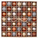 Valery Madelyn Winter Christmas 49 pezzi alla moda Silver Brown Shatter Oak Palle di Natale, centrotavola, di cui 49 ganci di sospensione