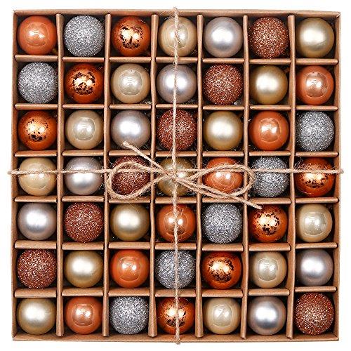 Valery Madelyn Weihnachtskugeln 49 Stücke 3CM Kunststoff Christbaumkugeln Weihnachtsdeko mit Aufhänger Glänzend Glitzernd Matt Tannenbaumschmuck Funkelnder Winter Thema Rosagold MEHRWEG Verpackung