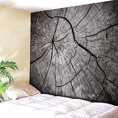 Rjjdd Jährliche Ring Baum Holz 3D Hängende Tapisserie Halloween Braun Mandala Boho Tapisserie Böhmischen Strandtuch 200X150 cm (Für Halloween-makeover Mädchen)