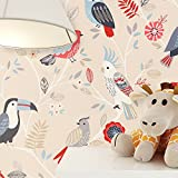 newroom Niños Papel pintado color crema multicolor–Papel pintado infantil Pájaros Bonito Moderno y diseño elegante para bebés, niños o niña, incluye tapezier Consejo donante
