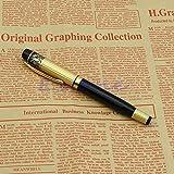 SimpleLife Hero 901 Pluma Estilográfica de plumín Mediano Negro y Oro Inoxidable de Lujo Regalo de colección Oro Negro