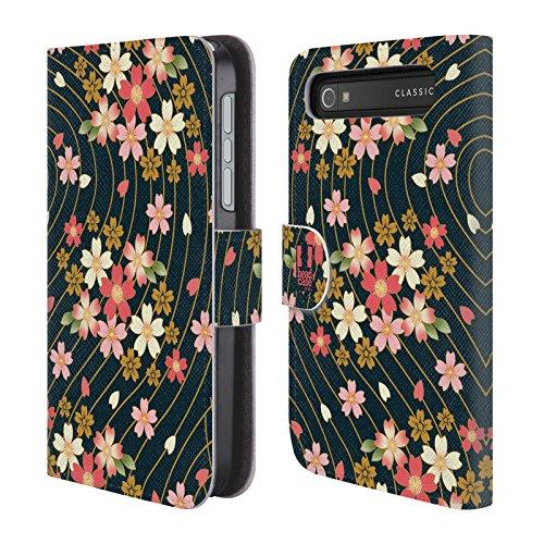 Head Case Ciliegi In Fiore Lacche Cover telefono a portafoglio in pelle per BlackBerry Classic
