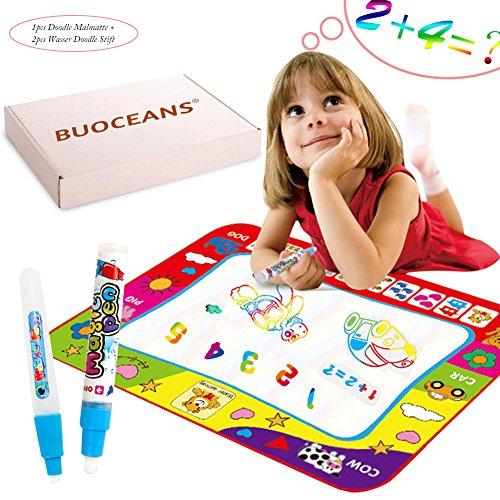 BUOCEANS Doodle Matte, 80*60cm Magic Wasser Doodle matte,Wasser malen Matte Malmatte Für baby Kinder, Doodle Matte zum Bemalen mit 2pcs Wasser Doodle Stift