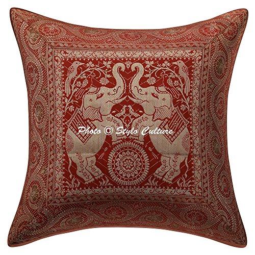 Stylo Culture Elefante Indio Throw Pillow Covers Moho Brocade Jacquard Cojín Floral...