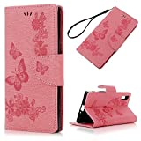 Sony Xperia XZ Leather Case, Flip Wallet Case Pink Butterfly Flying Have Fun Carved Flower Cover Cash and Card Slots Pouch Magnetic Closure Secure Lock and Stand Feature TPU Bumper Shell Cradle