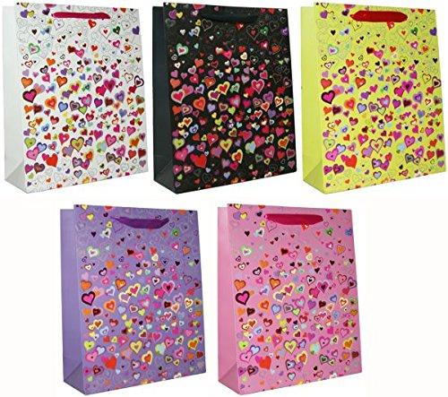 240405 5x Geschenktasche Heart gross, Herztasche, Papiertasche, verschiedene Farben, Tragetasche für Liebes Geschenk, 5 Stück