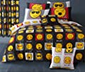 Single Bed Duvet / Quilt Cover Black / White Reversible Bedding Set Smiley Bedding Mojis / Faces / Expressions / Emoticons - inexpensive UK light store.
