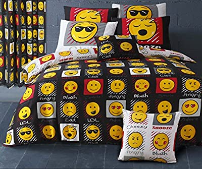 Single Bed Duvet / Quilt Cover Black / White Reversible Bedding Set Smiley Bedding Mojis / Faces / Expressions / Emoticons - cheap UK light shop.
