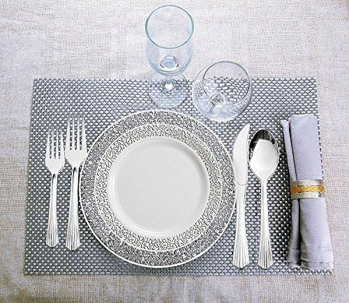 [10Stück] Lace-Kollektion elegante Premium Heavy Duty Kunststoff Einweg Party Abendessen Teller, weiß / silber, 6
