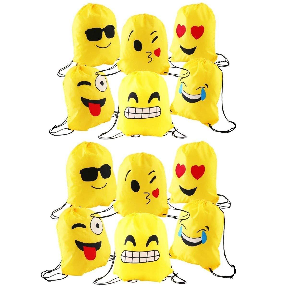 buena reputación descuento mejor valorado productos de calidad JZK 12pcs Encantador Emoji cordón Dibujos Animados Mochila Bolsas PE para  cumpleaños niños y Adultos la Fiesta favorece la Bolsa, Rellenos Bolsas ...