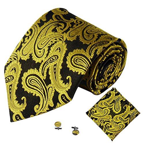Krawatten-tasche Gold (SOMESUN Gewebtem Jacquard Herren Krawatten Taschentuch Manschettenknopf 3PCS Paisley Cashew Taschen (gelb #3))