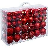 Weihnachtskugeln 100 Stück Rot - Christbaumkugeln Baumschmuck Weihnachtsbaumschmuck Baumkugeln