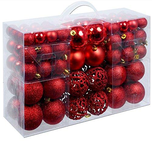 Weihnachtskugeln 100 Stück Rot - Christbaumkugeln Baumschmuck Weihnachtsbaumschmuck