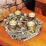 Dekorativer Kranz / Adventskranz mit toller Dekoration und LED - Kerzen - sofort einsetzbar - geflochten aus massiven Holzzweigen mit dekorativen Tannenzweigen und Zapfen - mit Glas - Kerzenhaltern für 4 LED -Teelichter - eine perfekte Deko für Tisch, Garten, Terrasse, Balkon, Wohnzimmer - sofort einsatzbereit, schöner Landhausstil - inklusive vier LED -Teelichter - flackernd, für Innen und geschützten Außen - Bereich - OUTDOOR - NEU für Advent Winter Weihnachten - aus dem KAMACA-SHOP