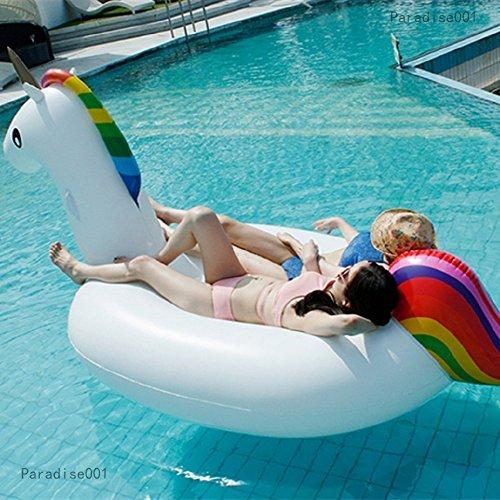 Riesigen aufblasbaren Einhorn Schwimmendes Bett, Pool-Einhorn, PVC aufblasbares Schwimmendes Bett, Float-Spielzeug, Allgemeines / Erwachsen- / Kindschwimmenring-Wassererholungfreizeit-Stuhl von 2-3 Personen - 7