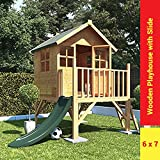 BillyOh Bunny Max Tower Childrens Wooden Playhouse - Including Slide 6 x 7
