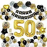 MMTX 50 Decorazioni per Feste di Buon Compleanno in Oro Nero, Palloncini per 50 Compleanno, Pom Pom di Carta, Palloncini in Lamina d'oro per Uomini e Donne, Decorazioni per Feste per Adulti
