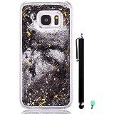Coque Sable mouvants pour Samsung Galaxy S7 Edge G9350 - Yihya 3D Transparente Liquide Étoile Paillette Brillante Plastique Arrière Protecteur Rigide Etui Housse de Protection Case Cover,Noir(Black)