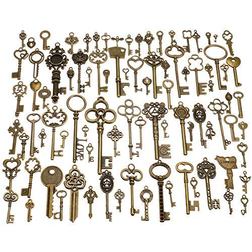 MYAMIA 90Pcs Antik Vintage alte kunstvollen Skelett Schlüssel viele Anhänger ausgefallene Herz Dekorationen Geschenke