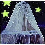Ledyoung Moskitonetz Netze Moskitoschutz für Baby Kid Kinder Betthimmel Leuchtende Sterne Netze Bett Canopy Netting Outdoor Urlaub Reisen, weiß