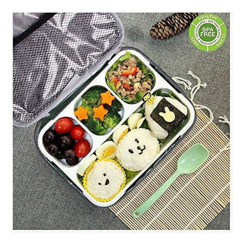 Bento Box Set, BPA Frei Lunch Box mit Mittagessen Tasche Kinder & Erwachse Lunchboxen, Brotdose mit 4 Unterteilungen Große Mittagessen-tasche Mit Fächern