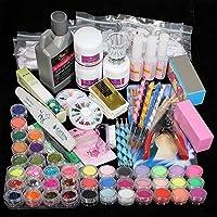 TEEROVA Professional 42 Acrylic Powder Liquid Brush Glitter Clipper Primer File Nail Art Tips Set Kit