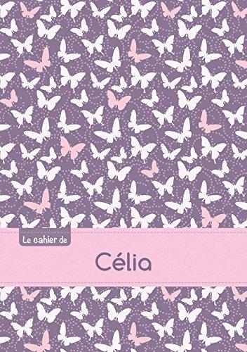 Le cahier de Célia - Séyès, 96p, A5 - Papillons Mauve