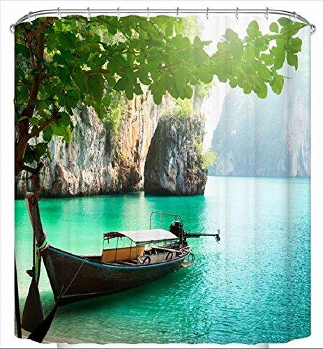 Beddingleer Boot Unter dem Schatten Duschvorhang Verdicken Anti-Schimmel Textilien Polyester Wasserabweisend  180x180 cm mit 12 Vorhangringe