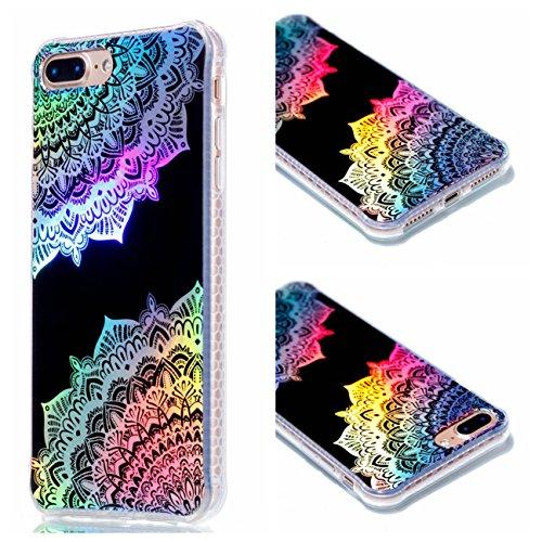 Apple iPhone 7 Plus 5.5 Hülle, Voguecase Schutzhülle / Case / Cover / Hülle / Plating TPU Gel Skin (Schwarz-Bunt Durchstochen 09) + Gratis Universal Eingabestift Schwarz-Bunt Durchstochen 09
