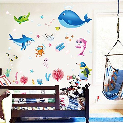 Elecenty Wandsticker, Bunte Wandaufkleber Fish Shark Ocean Abziehbilder Vinyl Aufkleber Wandbild Kinderzimmer Wanddeko Dekor Wandhaupt (1PC, Mehrfarbig)