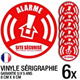 Lot de 6 autocollants / stickers Alarme sécurité / 8 cm