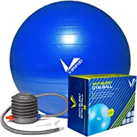 Verified Anti-Burst Gym Ball with Foot Pump (65cm to 85cm) | Weighted Gym Ball | Non Slip Stability Exercise Gym Ball | Balance Ball | Fitness Ball for Gym, Home, Office | Great for Yoga, Home Exercise, Gym Fitness, Pilates, Office Exercise | Quick Foot Pump Included