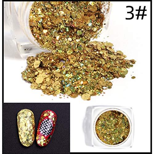 Eintauchen des Nagelpuder-Starter-Kits 5-Farben-Acryl-Dip-Nagelpuder-System mit mattem Effekt mit Bonding, Chunky Glitter Nail Sequins Irisierende Flocken Ultradünne Spitzen Bunt, - Fun Dip Kostüm