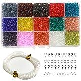 Ewparts 3 MM bricolage ronde perles de verre de couleur mélangée, bricolage bijoux fabrication de perles ensembles pour les enfants cadeau (transparent)