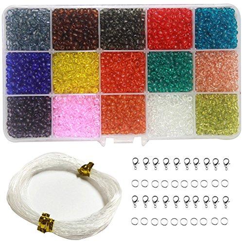 Ewparts 3mm Mini Glasperlen für Kinder Schmuck machen, Armbänder, Halsketten, Schlüsselanhänger und Kinder Schmuck machen Kit (Transparent)