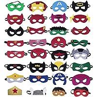 KRUCE 32 Piezas Máscaras de Superhéroe, Suministros de Fiesta de Superhéroes, Máscaras de Cosplay de Superhéroe, Máscaras de Media Fiesta para Niños o Niños Mayores de 3 Años